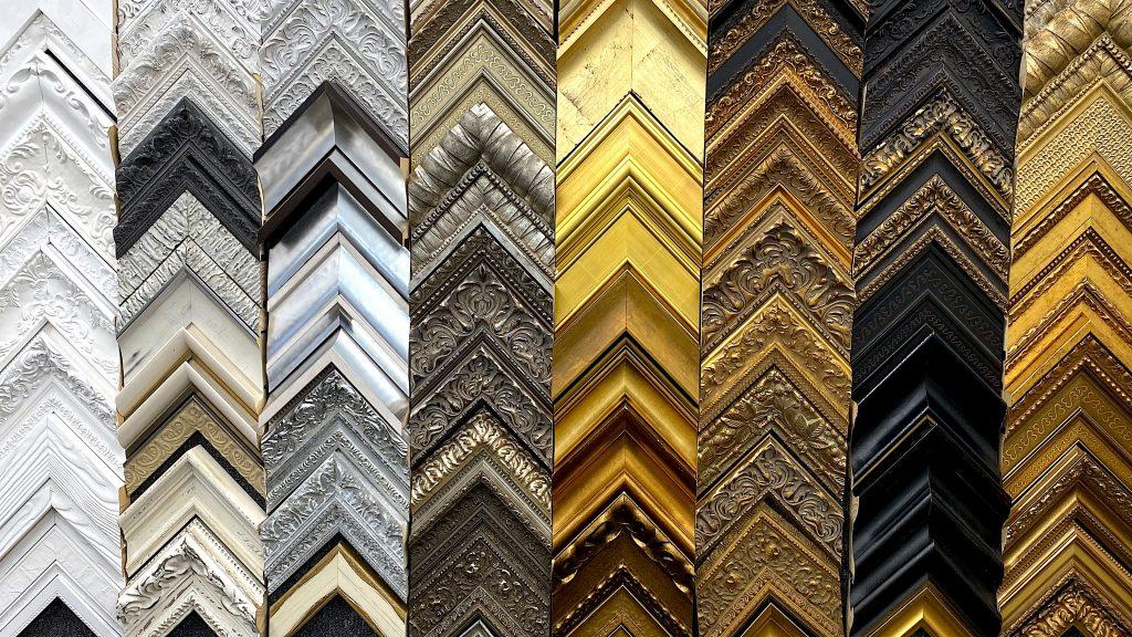 A sampling of the mouldings we offer for custom framing.